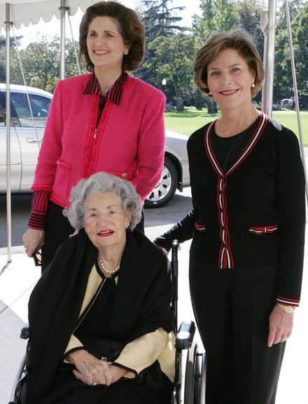 Lady Bird with her daughter Lynda Johnson Robb and First Lady Laura Bush on 19 October 2005 Lady bird 2005-10-19.jpg