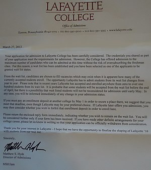 Wait list - Colleges use waitlists to hedge their bets, uncertain about how many accepted students will say yes, and to draw applicants from the waitlist when vacancies open. In addition, waitlists allow colleges to target acceptance letters to students likely to attend to maintain the college's selectivity ranking and yield.