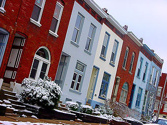 Lafayette Square, St. Louis - Terraced Houses in the Lafayette Square neighborhood in winter