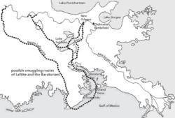 Les itinéraires probablement empruntés par Lafitte pour se livrer à la contrebande.