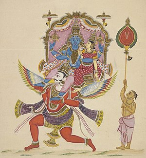Divya Desam - A depiction of Lord Vishnu and Lakshmi mounting on Garuda