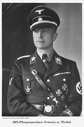 Josias, Hereditary Prince of Waldeck and Pyrmont - Josias, Hereditary Prince of Waldeck and Pyrmont, here with the rank of an SS-Obergruppenführer of the Allgemeine SS, portrait card (from January 1936 until April 1942, exact date unknown).