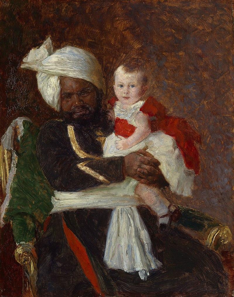Лауриц Регнер Туксен (1853-1927) - принц Александр Баттенбергский (1886-1960) с Мухаммедом Бухш - Рцином 403610 - Королевский Collection.jpg