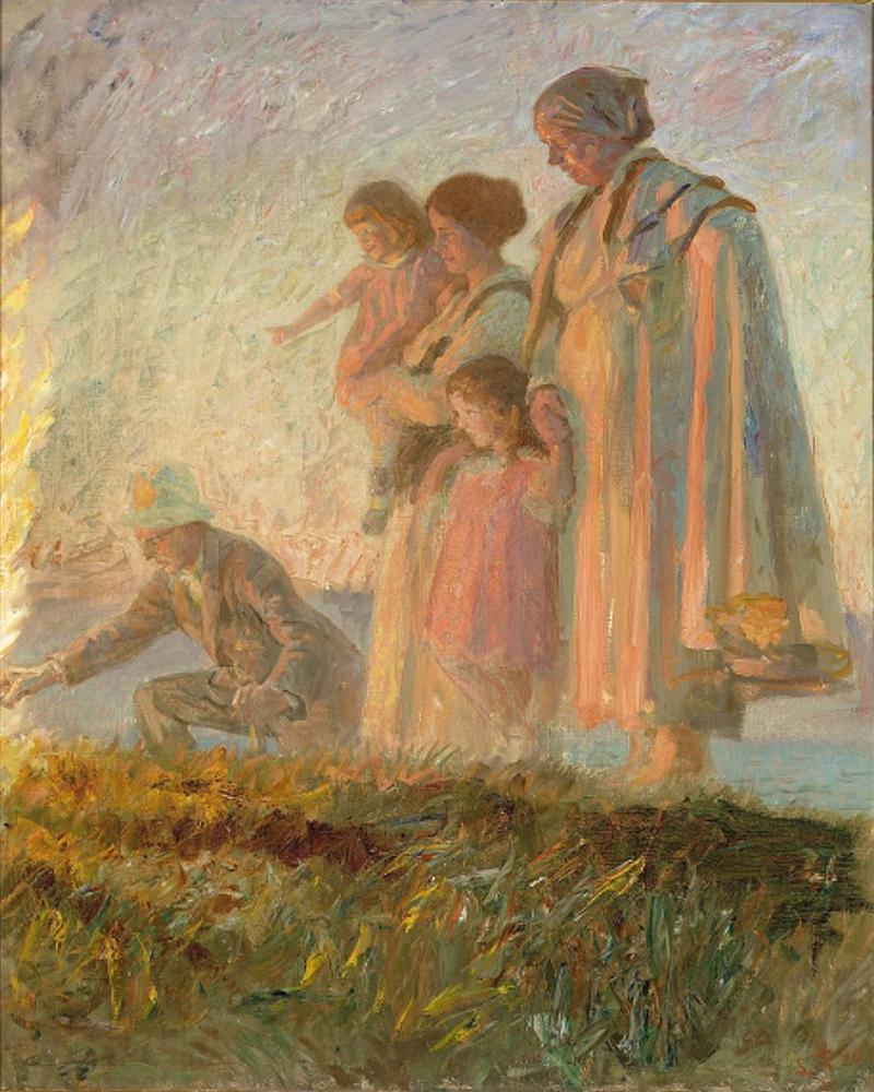 Laurits Tuxen - Ved Sankthansbеlet pе Skagen strand - 1920.png