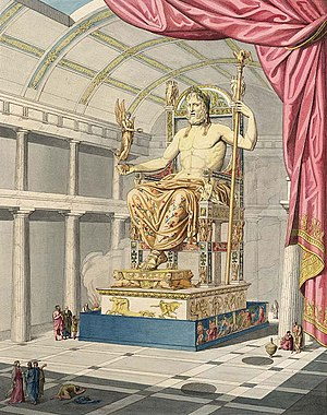 Statue of Zeus at Olympia - Olympian Zeus in the sculptured antique art of Quatremère de Quincy (1815).