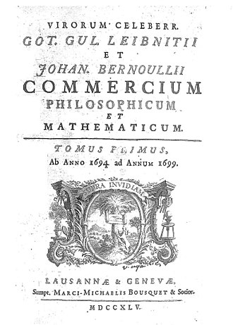 Commercium philosophicum et mathematicum (1745), a collection of letters between Leibnitz and Johann Bernoulli Leibniz - Opere. Lettere e carteggi, 1745 - 1359735 F.jpeg
