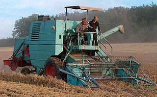 Combine harvester machine that harvests grain crops