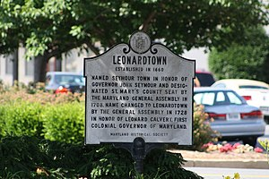 Leonardtown, Maryland - Maryland Historic Society's Leonardtown Marker
