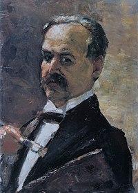 Lesser Ury 1910 Selbstporträt mit Pinsel und Palette.JPG