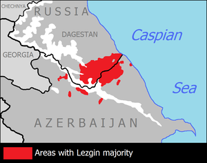 The area of Lezgin settlement in the border of Russia and Azerbaijan.