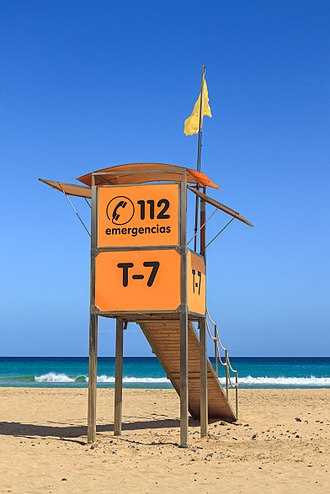 112 (emergency telephone number) - 112 on a lifeguard tower in Morro Jable, Spain
