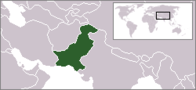 A map showing the location of Pakistan