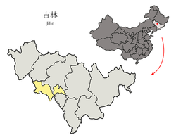 Location of Siping City (yellow) in Jilin (light grey) and China