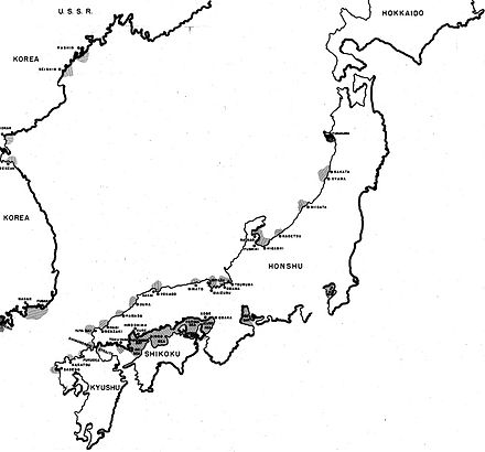 A map showing the areas of Japanese and Korean waters mined by the Twentieth Air Force up to 31 July 1945 Locations mined by the 20th Air Force up to 31 July 1945.jpg