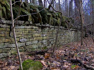 Long Hunter State Park - An old stone property wall near the end of the Volunteer Trail