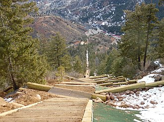 Manitou Incline - View from the Barr Trail Bailout, approximately two-thirds up the incline