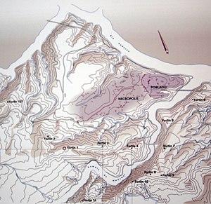 Plano general del poblado, la necrópolis y los fortines