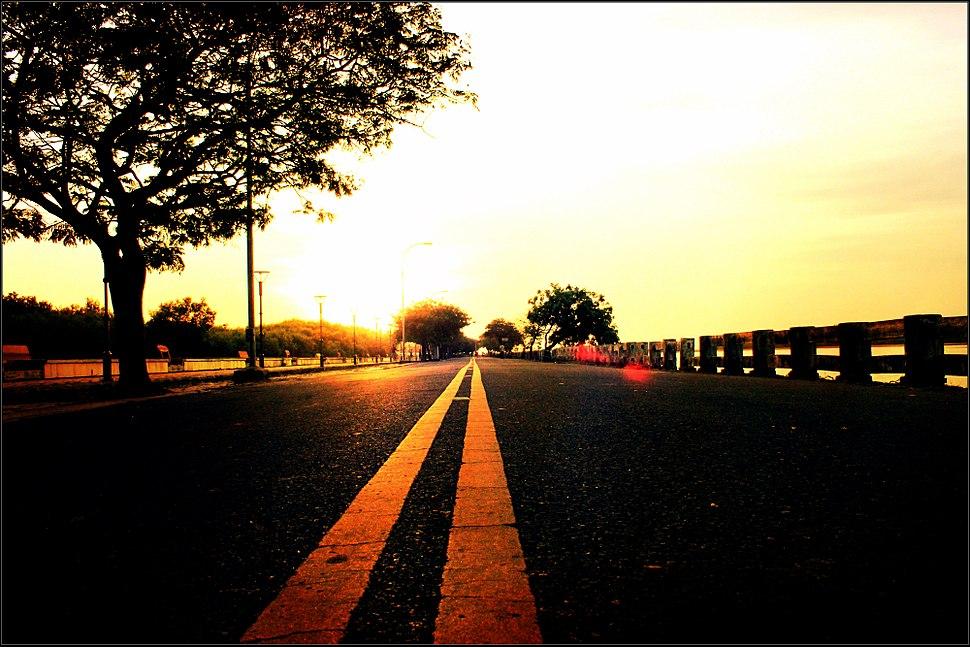 Lovely sun rise in karaikal beach road