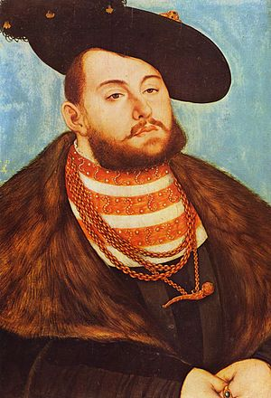John Frederick I, Elector of Saxony - Portrait by Lucas Cranach the Elder, 1531.