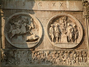 Battle of the Milvian Bridge - A contemporary image of the battle from the Arch of Constantine, Rome. In the frieze at the foot of the image Constantine's cavalry drive Maxentius' troops into the waters of the Tiber.