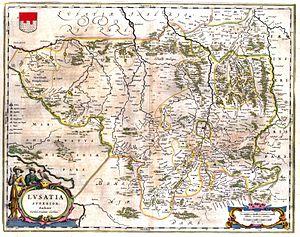 Kwisa - Map of Upper Lusatia (Joan Blaeu, 1635) shows  the Queiß(e) Fl(uvius), now Kwisa marking its eastern border