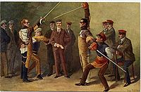 This circa 1900 painting illustrates a typical mensur bout in Heidelberg, Germany. The combatants have their swords high in the air and are wearing only metal goggles to protect the eyes and nose.