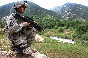 War on Terror - U.S. Army soldier of the 10th Mountain Division in Nuristan Province, June 2007