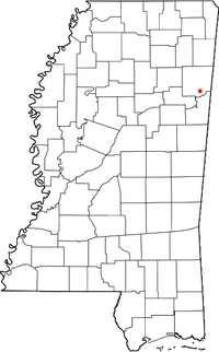 Location of Hamilton, Mississippi
