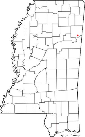 Hamilton, Mississippi - Image: MS Map doton Hamilton