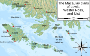 Macaulay family of Lewis - Locations mentioned within the article (click to enlarge). The Lewis Macaulays were centred at Uig, on the Isle of Lewis. The Wester Ross Macaulays have been associated with Loch Broom and Ullapool. The Uist MacAulays were centred on the Uists; though they were said to have incomers from the Small Isles.