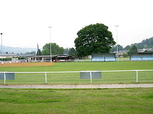 Bala Town F.C. - A view of Maes Tegid from the side of the pitch