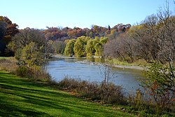 The Humber River at Magwood Park, a park that surrounds the northwest portions of Baby Point