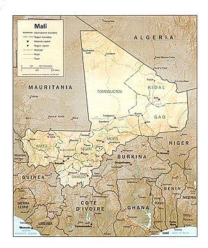 Outline of Mali - An enlargeable relief map of Mali