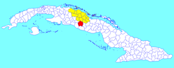 Manicaragua municipality (red) within Villa Clara Province (yellow) and Cuba