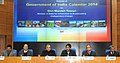 Manish Tewari addressing at the release of the official calendar 2014, brought out by the DAVP, in New Delhi. The Secretary, Ministry of Information and Broadcasting, Shri Bimal Julka and other dignitaries are also seen.jpg