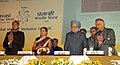 Manmohan Singh launching the IOF website, at the tenth Pravasi Bharatiya divas 2012, at Jaipur, Rajasthan. The Prime Minister of the Republic of Trinidad and Tobago, Mrs. Kamla Persad Bissessar, the Governor of Rajasthan.jpg