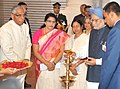 Manmohan Singh lighting the lamp to inaugurate the Bi-centenary celebrations of Indian Museum, in Kolkata. Smt. Gursharan Kaur, the Governor of West Bengal, Shri M.K. Narayanan, the Chief Minister of West Bengal.jpg