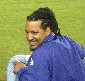 Manny Ramirez in the Dodger Dugout