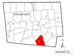 Map of Bradford County with Albany Township highlighted