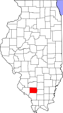 Map of Illinois highlighting Perry County