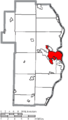 Map of Jefferson County Ohio Highlighting Steubenville City.png