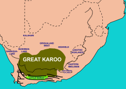 Extent of the Karoo (olive-green) and Little Karoo (bright green) in South Africa, with the names of surrounding areas in blue. The thick interrupted line indicates the course of the Great Escarpment which delimits the Central South African Plateau. To the immediate south and south-west the solid lines trace the parallel ranges of the Cape Fold Belt.[1]