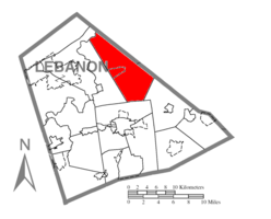 Map of Lebanon County, Pennsylvania highlighting Bethel Township