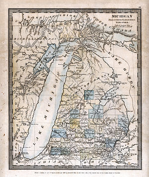 Michigan Territory - An 1831 map of Michigan by David H. Burr, showing boundaries of early counties