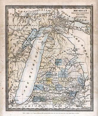 Michigan Territory - An 1831 map of Michigan by David H. Burr, showing boundaries of early counties