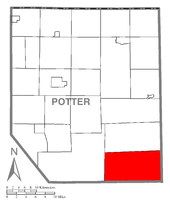 Map of Potter County, Pennsylvania highlighting Stewardson Township