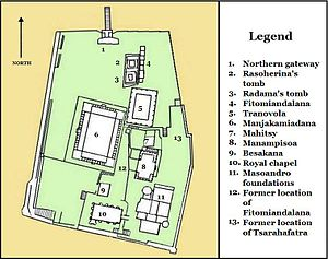 Rova of Antananarivo - Layout of the buildings in the Rova compound in 1990