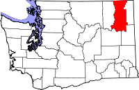 Locatie van Stevens County in Washington