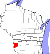 Map of Wisconsin highlighting Crawford County