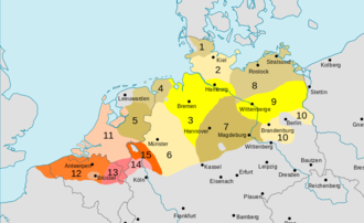 Low German - Brown and yellow: Low German. Orange and pink: Low Franconian languages.